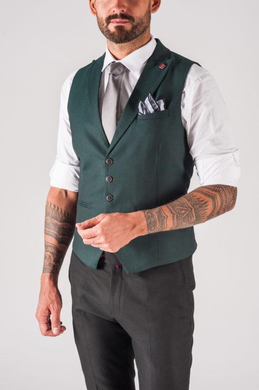 Мужская зелёная жилетка. Арт.:3-704-3
