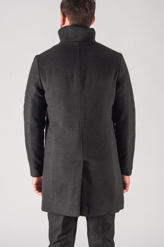 Зимнее мужское пальто в черном цвете. Арт.:1-707-10