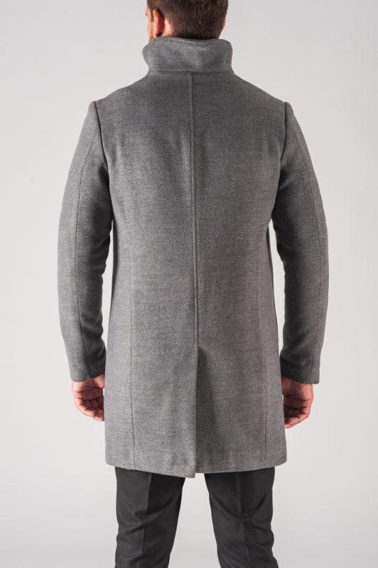 Модное мужское пальто на зиму в сером цвете. Арт.:1-708-10
