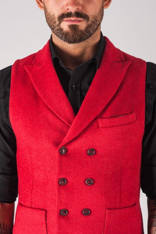 Двубортная красная мужская жилетка. Арт.:3-709-3