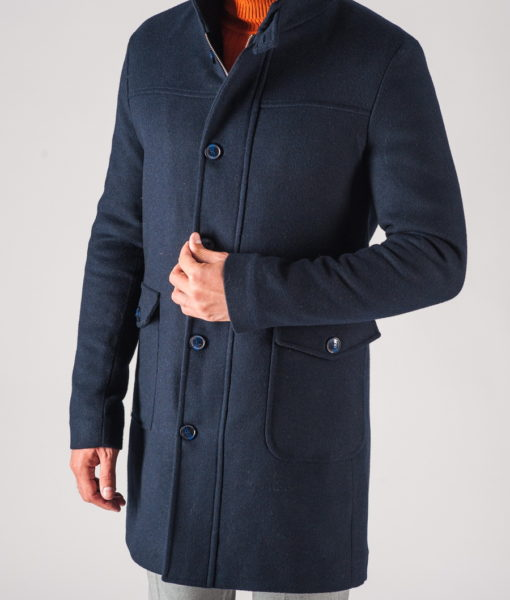 Зимнее молодежное мужское пальто синего цвета. Арт.:1-709-10