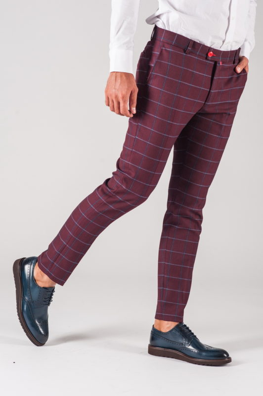 Бордовые мужские брюки в клетку. Арт.:6-710-3