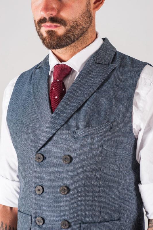 Двубортная мужская жилетка серого цвета. Арт.:3-728-3
