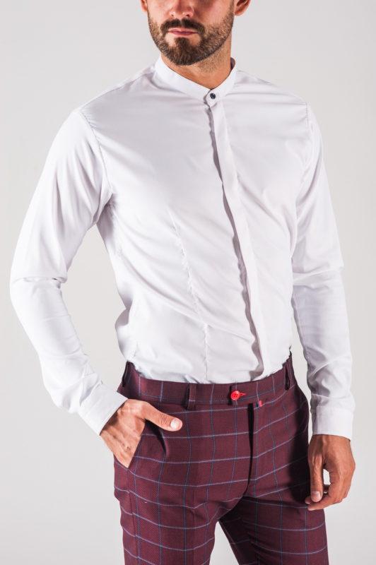 Белая мужская рубашка с воротником-стойкой. Арт.:5-711-8