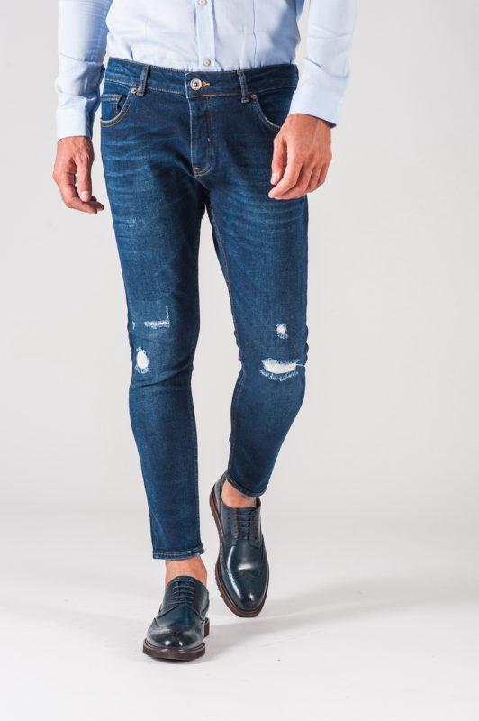Мужские джинсы скинни темно-синего цвета. Арт.:7-712