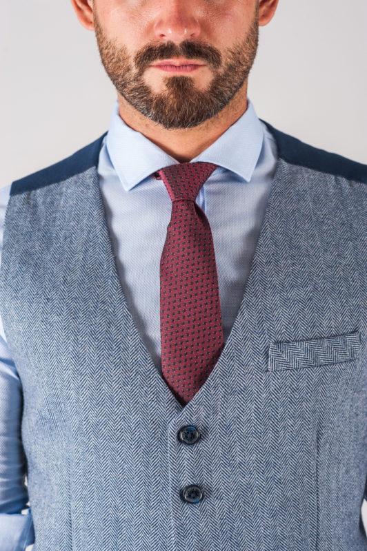 Голубая приталенная мужская жилетка. Арт.:3-713-3