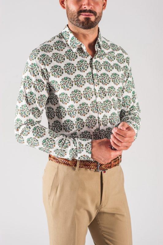 Мужская рубашка с растительным принтом. Арт.:5-716-8