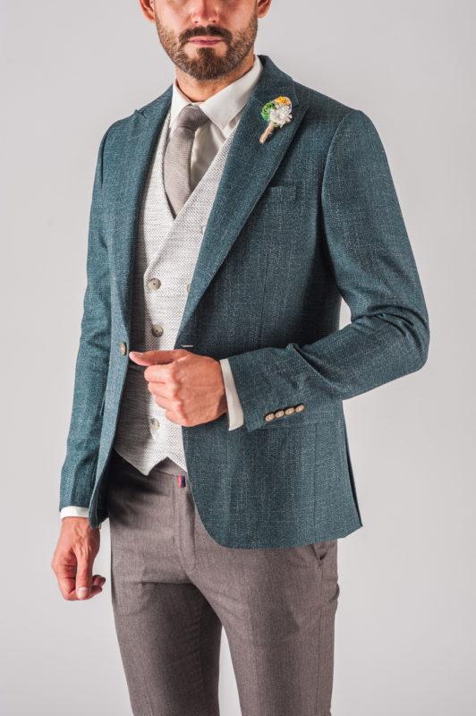 Модный мужской пиджак зеленого цвета. Арт.:2-717-5