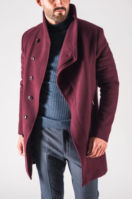 Модное мужское зимнее пальто бордового цвета. Арт.:1-721-10