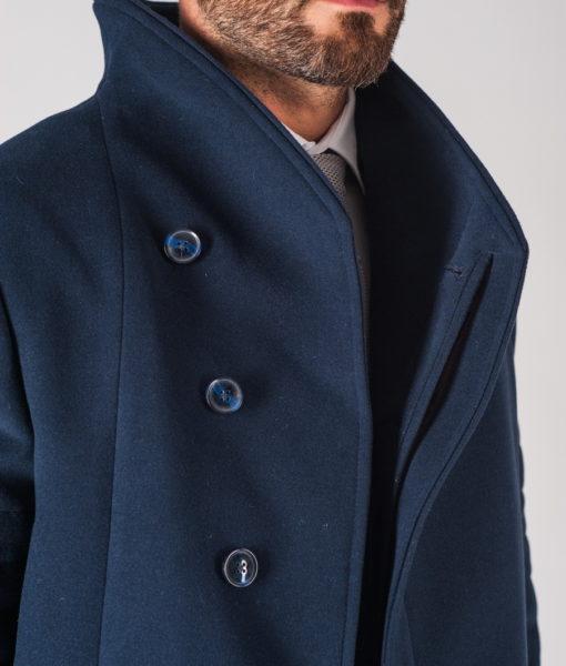 Зимнее мужское пальто синего цвета приталенного кроя. Арт.:1-724-10