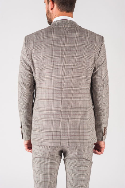 Светлый мужской костюм тройка в клетку. Арт.:4-725-3