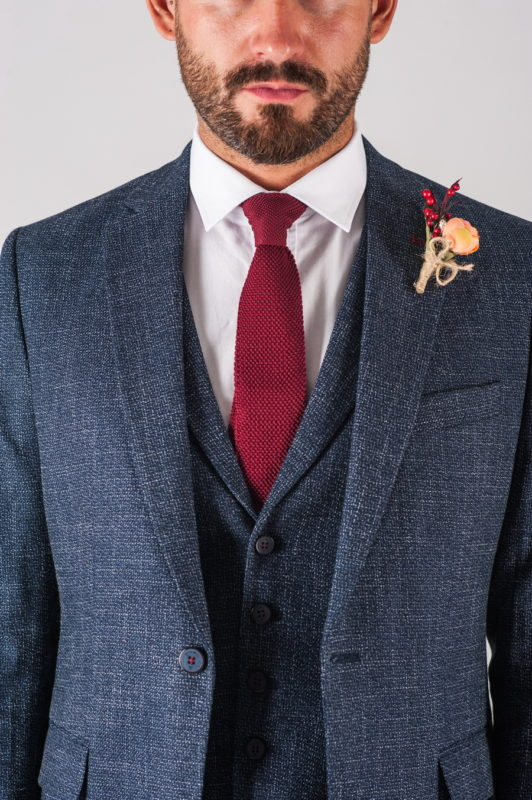 Мужской костюм тройка темно-синего цвета. Арт.:4-726-3