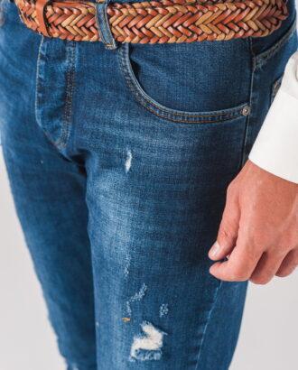 Синие мужские джинсы skinny с рваностями. Арт.:7-727