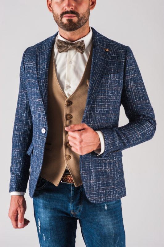 Фактурный мужской пиджак синего цвета. Арт.:2-727-5