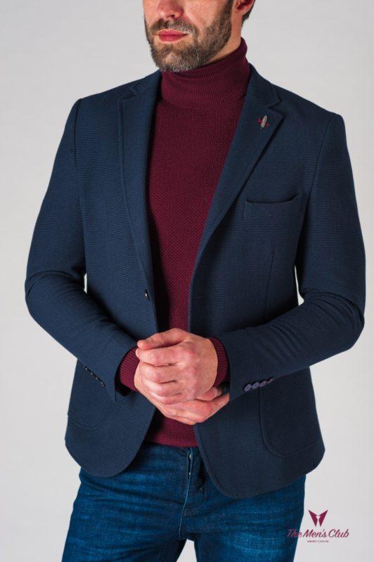 Темно-синий мужской пиджак в стиле кэжуал. Арт.:2-621-5