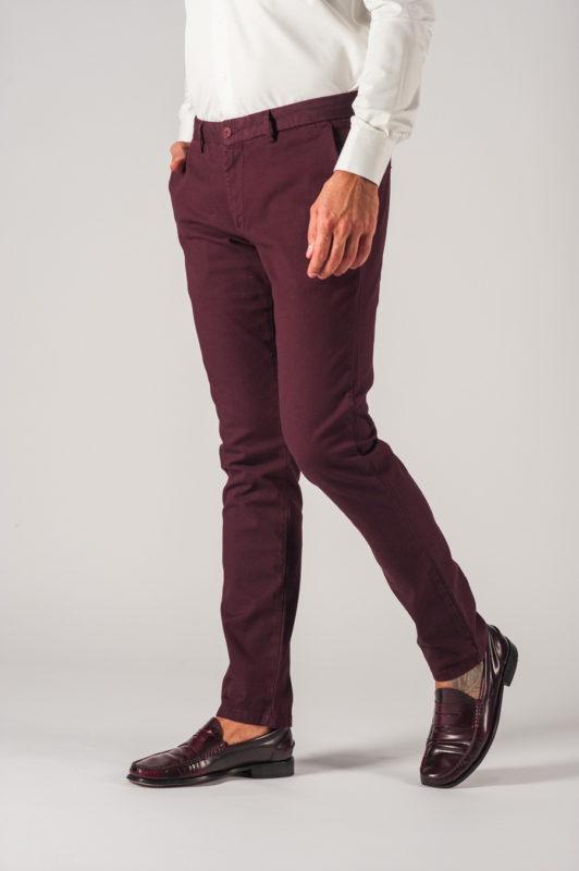 Мужские брюки на каждый день бордового цвета. Арт.:6-730-2