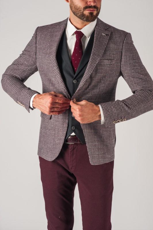 Мужской пиджак в ломанную клетку в стиле кэжуал. Арт.:2-730-5
