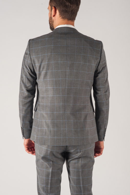 Серый мужской костюм-тройка в голубую клетку. Арт.:4-732-3