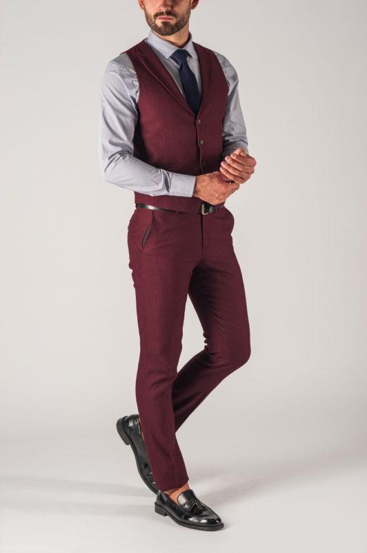 Мужской костюм бордового цвета ( жилет+ брюки). Арт.:4-735-5