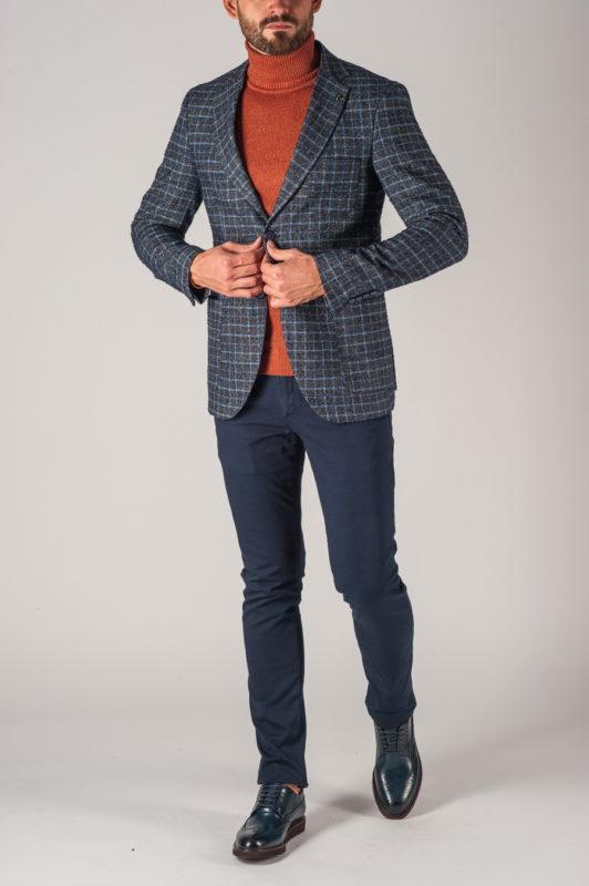 Шерстяной мужской пиджак в клетку. Арт.:2-736-5