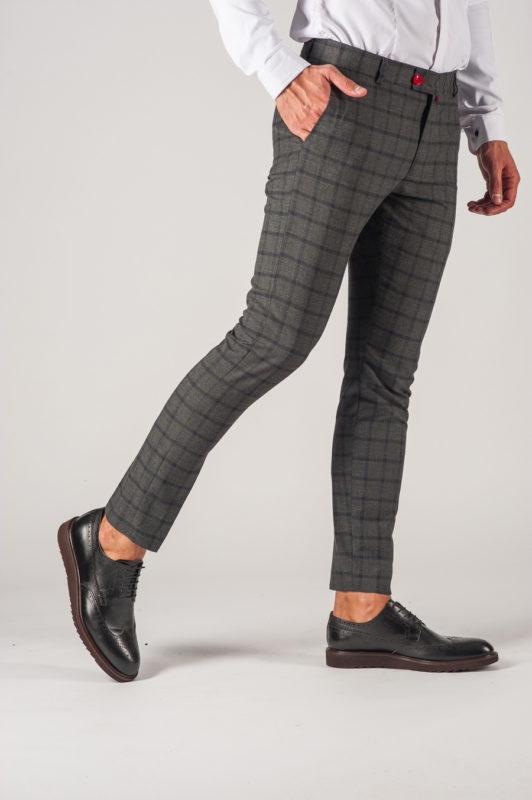 Мужские серые брюки в клетку. Арт.:6-737-3