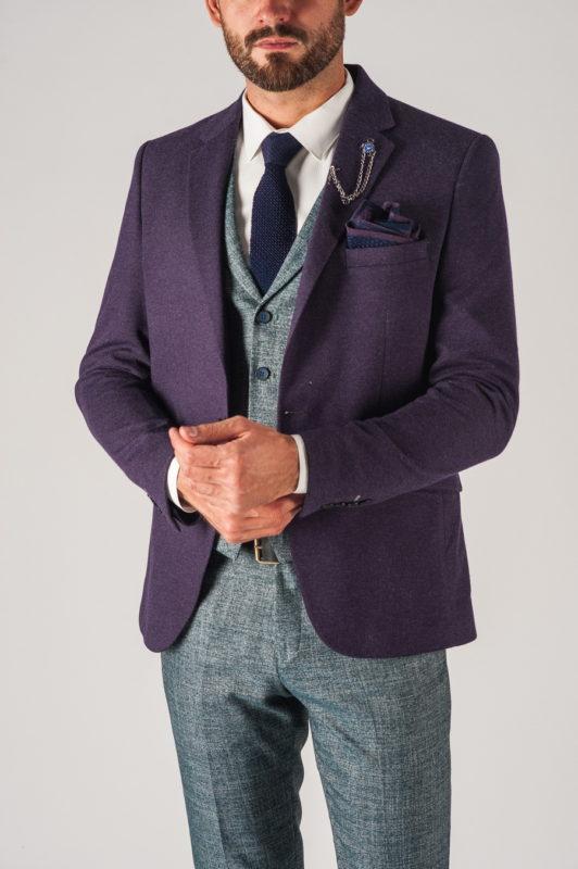 Модный фиолетовый мужской пиджак. Арт.:2-739-1