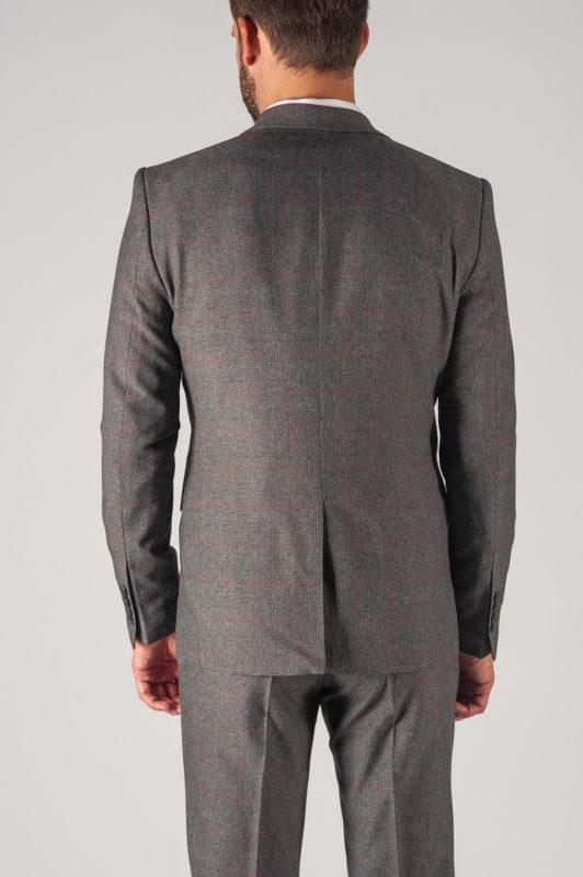 Мужской серый костюм-двойка в бордовую клетку. Арт.:4-745-1