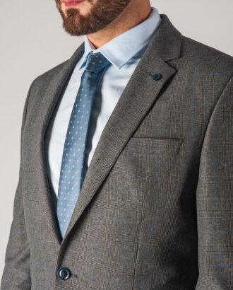 Серый мужской костюм-двойка  в голубую клетку. Арт.:4-756-1