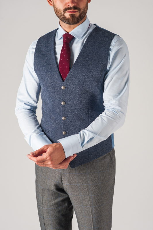 Костюмный мужской жилет синего цвет. Арт.:3-746-1