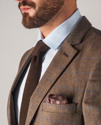 Мужской коричневый пиджак в клетку. Арт.:2-747-2