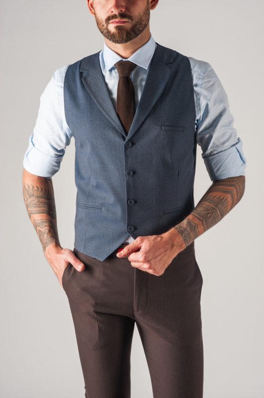 Классический мужской жилет синего цвета. Арт.:3-747-1