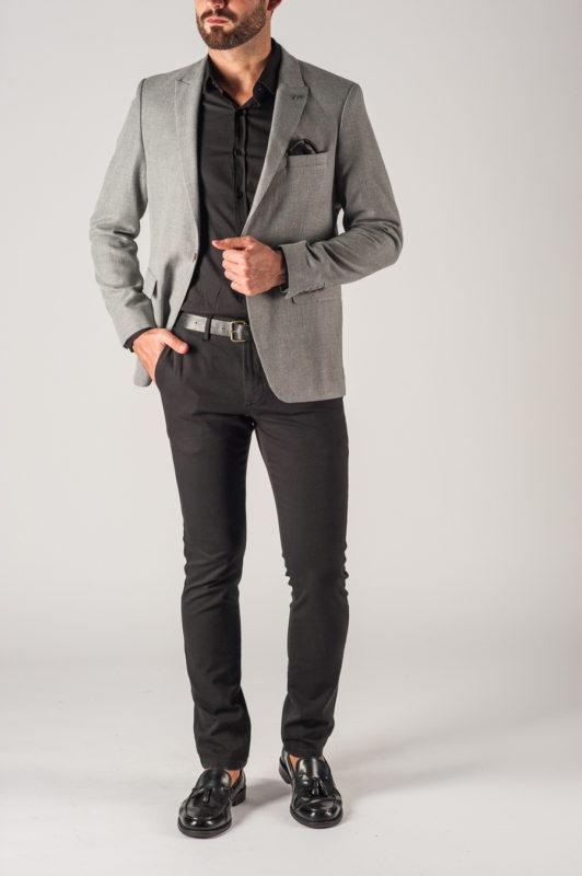 Мужской серый приталенный пиджак. Арт.:2-751-2