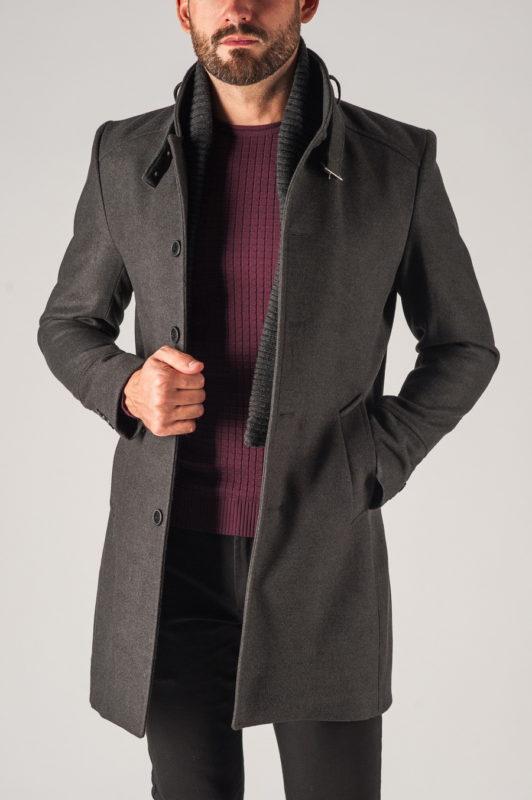 Мужское пальто с воротником стойкой. Арт.:1-753-1