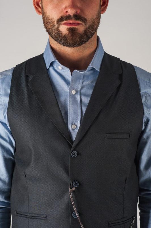 Классическая мужская жилетка темно-серого цвета. Арт.:3-757-1