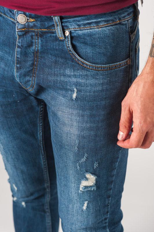 Синие мужские джинсы с рваностями. Арт.:7-760