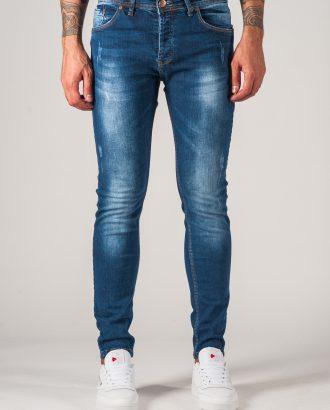 Мужские джинсы с потертостями синего цвета. Арт.:7-761
