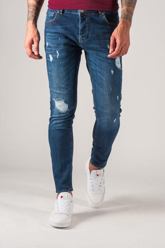 Мужские джинсы slim-fit синего цвета. Арт.:7-762