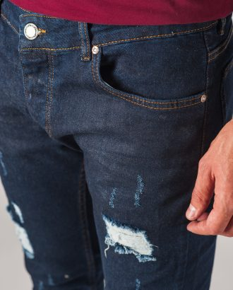 Темно-синие мужские джинсы с рваностями. Арт.:7-765