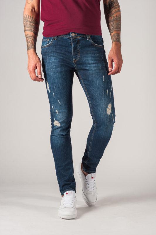 Синие мужские джинсы с потертостями и рваностями. Арт.:7-766