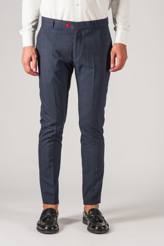 Клетчатые мужские брюки синего цвета. Арт.:6-770-3