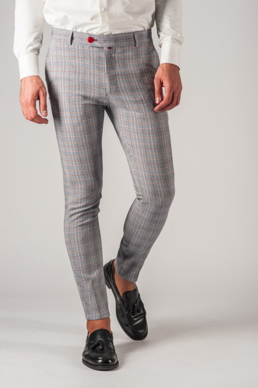 Серые мужские брюки в клетку. Арт.:6-772-3