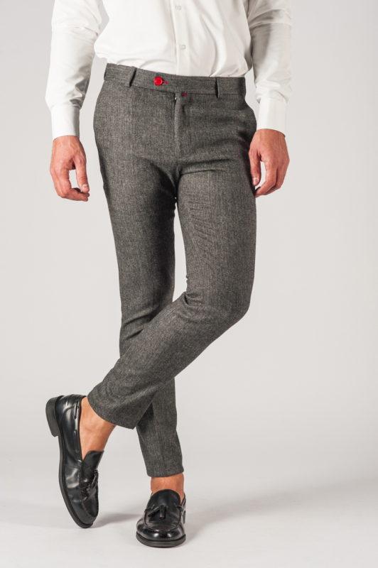 Серые мужские брюки в елочку. Арт.:6-773-3