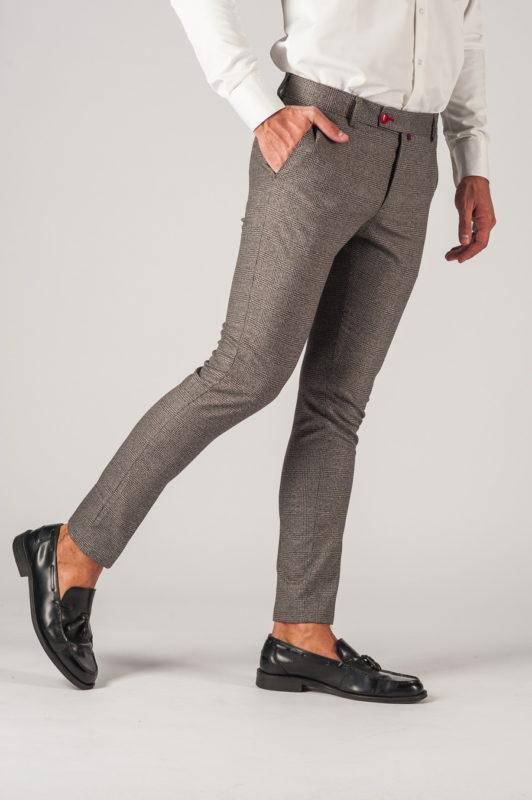 Мужские серые брюки в клетку. Арт.:6-774-3