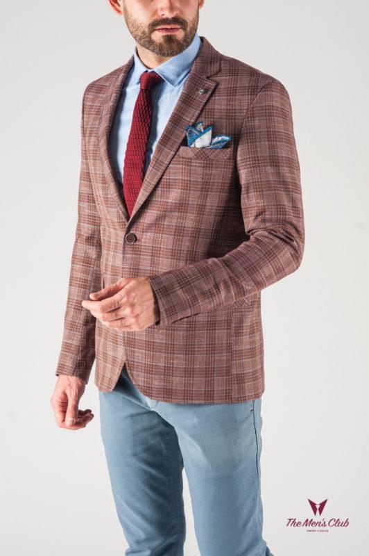 Мужской пиджак в клетку терракотового цвета. Арт.:2-801-22