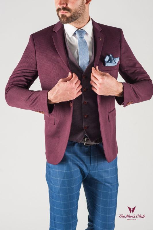 Бордовый мужской пиджак приталенного кроя. Арт.:2-805-2