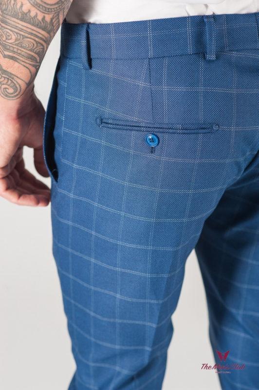 Синие мужские брюки в клетку зауженного кроя. Арт.:6-805-3