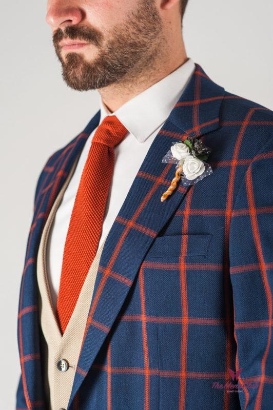 Мужской пиджак синего цвета в контрастную клетку. Арт.:2-806-2