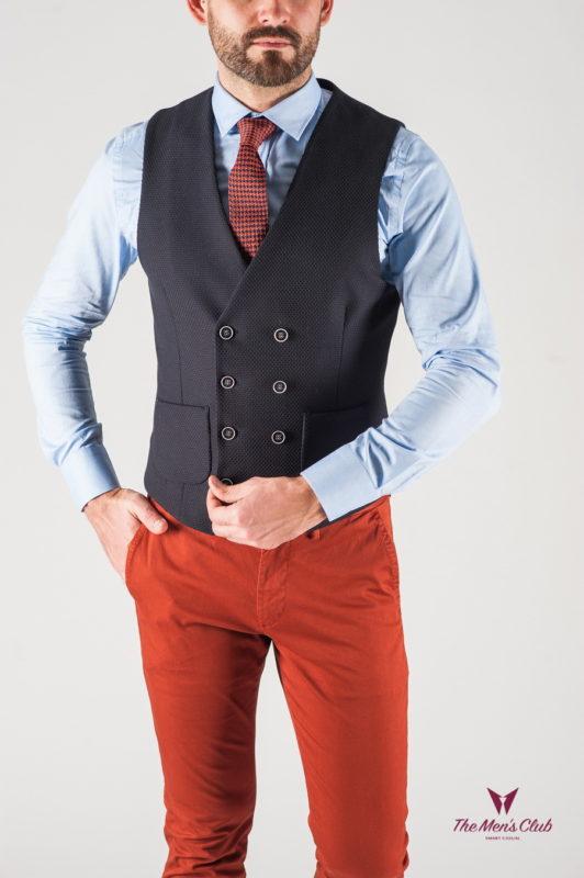 Мужская жилетка в стиле кэжуал темно-синего цвета. Арт.:3-808-3