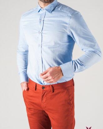 Приталенная мужская рубашка голубого цвета. Арт.:5-808-3