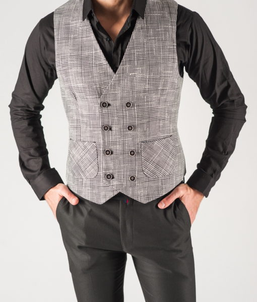 Мужская жилетка в клетку серого цвета. Арт.:3-810-3